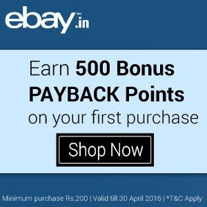 New Users Ebay Payback offer 500 Bonus points on Rs. 200 purchase