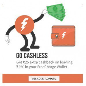 Freecharge Wallet Rs. 25 cashback on Adding Rs. 250