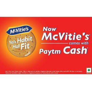 PayTm McVities Offer Free Rs. 15 PayTm cash on McVitie's Digestive Biscuits 250g Pack