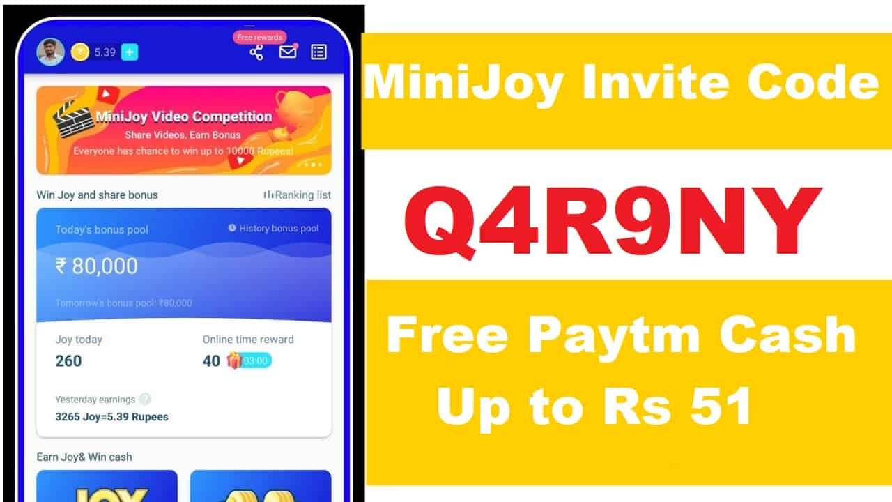 Download APK MiniJoy Pro Invite Code Refer and Earn Free ₹23 Paytm Cash
