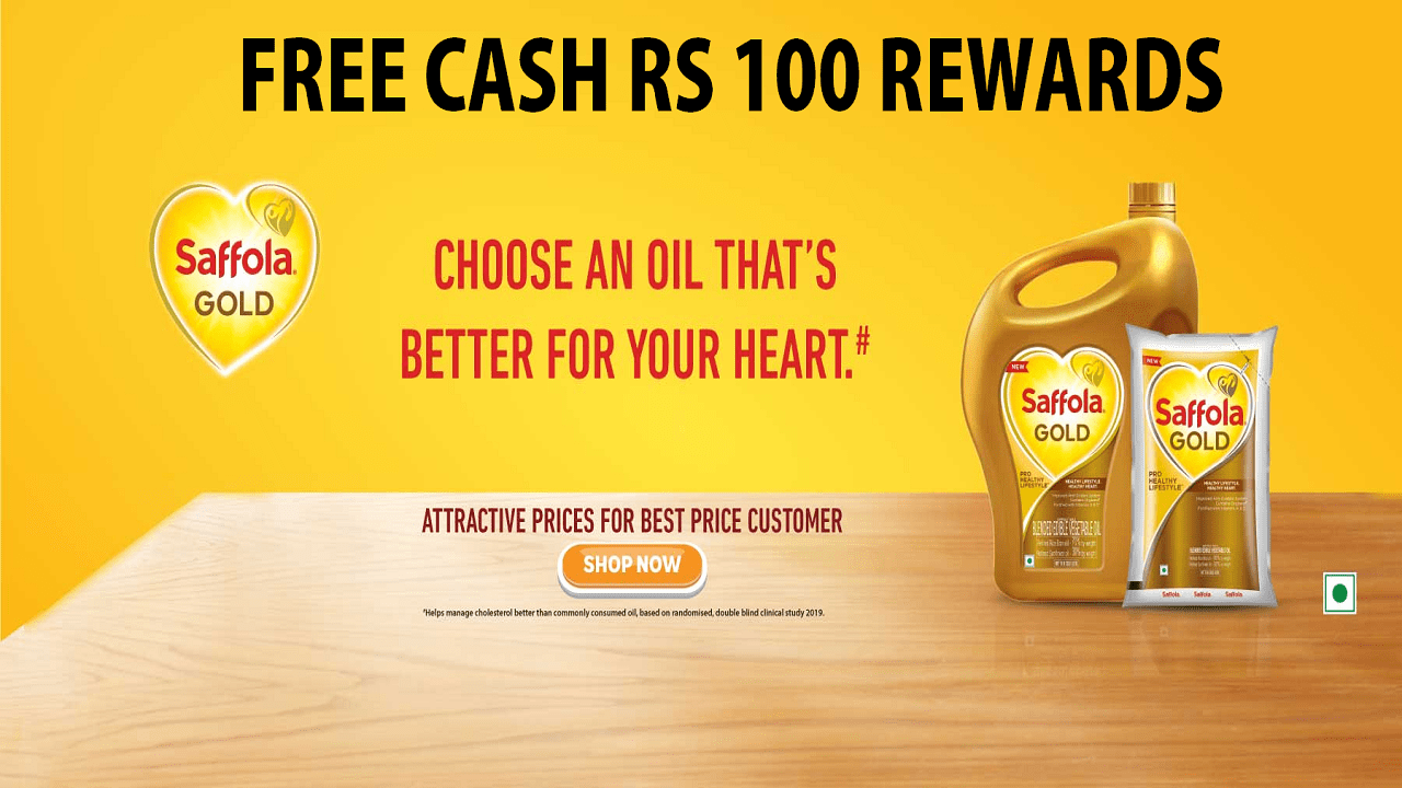 Saffola Free Rs 100 Cash Rewards for New Users Free Shopping