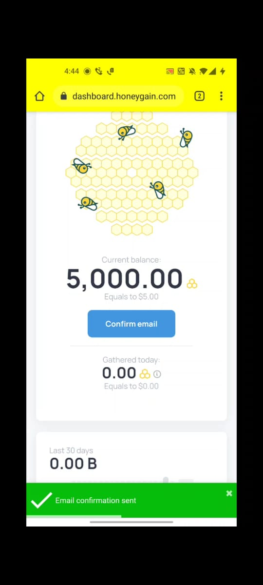 HoneyGain Coupon Code Confirmation Email